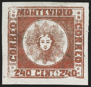 Sale Number 1236, Lot Number 2887, Uruguay 1858 First Issue - 240c and Sperati ReproductionsURUGUAY, 1858, 240c Brown Red (6b), URUGUAY, 1858, 240c Brown Red (6b)