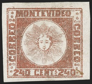 Sale Number 1236, Lot Number 2889, Uruguay 1858 First Issue - 240c and Sperati ReproductionsURUGUAY, 1858, 240c Brown Red (6b), URUGUAY, 1858, 240c Brown Red (6b)