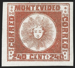 Sale Number 1236, Lot Number 2890, Uruguay 1858 First Issue - 240c and Sperati ReproductionsURUGUAY, 1858, 240c Brown Red (6b), URUGUAY, 1858, 240c Brown Red (6b)