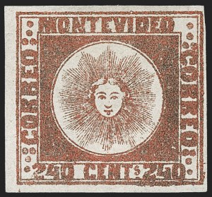 Sale Number 1236, Lot Number 2891, Uruguay 1858 First Issue - 240c and Sperati ReproductionsURUGUAY, 1858, 240c Brown Red (6b), URUGUAY, 1858, 240c Brown Red (6b)