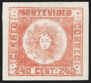 Sale Number 1236, Lot Number 2893, Uruguay 1858 First Issue - 240c and Sperati ReproductionsURUGUAY, 1858, 240c Dull Vermilion, Thick Paper (6d), URUGUAY, 1858, 240c Dull Vermilion, Thick Paper (6d)