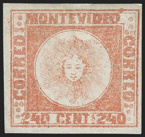 Sale Number 1236, Lot Number 2894, Uruguay 1858 First Issue - 240c and Sperati ReproductionsURUGUAY, 1858, 240c Dull Vermilion, Thick Paper (6d), URUGUAY, 1858, 240c Dull Vermilion, Thick Paper (6d)