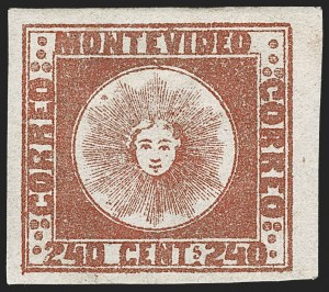 Sale Number 1236, Lot Number 2904, Uruguay 1858 First Issue - 240c and Sperati ReproductionsURUGUAY, 1858, 240c Brown Red, Sperati Reproduction (6b Sperati), URUGUAY, 1858, 240c Brown Red, Sperati Reproduction (6b Sperati)