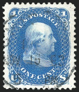 1c Blue, Re-Issue, Used, (Scott 102)