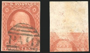 3c 1851 Issue Printed On Both Sides (Scott 10Ab)