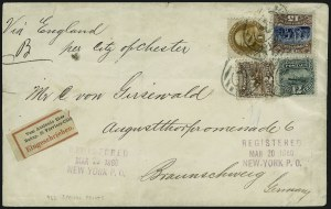 15c Brown & Blue, Type III, 1869 Pictorial Re-Issue on Cover, (Scott 129)