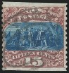 15c 1869 Re-Issue, Imperf. Horizontally, Used, (Scott 129a)