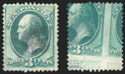 3c Green, Printed on Both Sides, (Scott 147a)