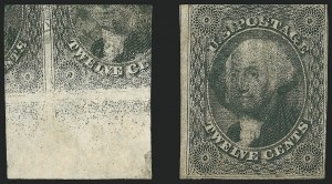 12c 1851 Issue, Printed on Both Sides, (Scott 17c)