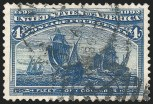 4c Blue, Error of Color, Used, (Scott 233a)