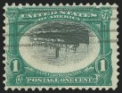 1c Green & Black, Center Inverted, Used, (Scott 294a)