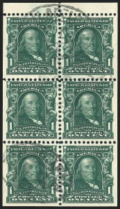 1c Green, Booklet, Used, (Scott 300b)
