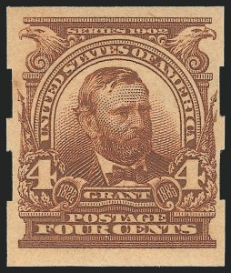 4c Brown, Imperforate, Schermack Ty. III Private Perf, (Scott 314A)