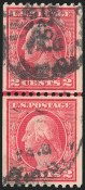 2c Red, Type I,, Rotary Printing, Used , Joint Line Pairs, (Scott 449)