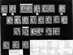 23 of the recorded examples., The first three rows comprise stamps discovered by Stanley Gibbons