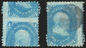 1c Blue, Printed On Both Sides, (Scott 63e)