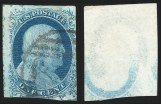 1c 1851 Issue, Printed on Both Sides, (Scott 9a)