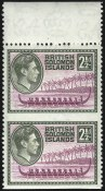 Solomon Islands, 1939, 2-1/2p Olive Green & Rose Violet, Vertical Pair,  Imperforate Horizontally, (Scott 71a; SG 64a)