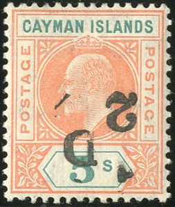 Cayman Islands, 1907, -1/2p on 5sh, Inverted Surcharge, (Scott 18a; SG 18a)