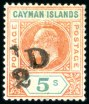 Cayman Islands, 1907, -1/2p on 5sh, Double Surcharge, (Scott 18b; SG 18b)