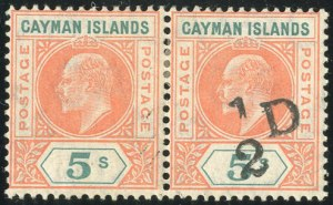 Cayman Islands, 1907, -1/2p on 5sh, Pair, One Without Surcharge, (Scott 18d; SG 18d)