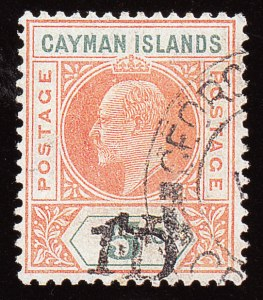 Cayman Islands, 1907, 1p on 5sh, Double Surcharge, (Scott 19a; SG 19a)