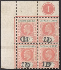 Cayman Islands, 1907, 1p on 5sh, Inverted Surcharge, (Scott 19b; SG 19b)