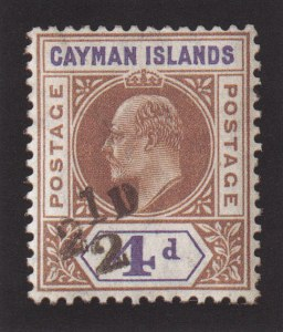 Cayman Islands, 1908, 2-1/2p on 4p, Double Surcharge, (Scott 20a; SG 35a)