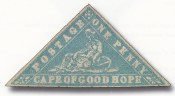 Cape of Good Hope, 1861, 1p Milky Blue and Pale Blue, Error of Color, (Scott 7c-7d; SG 13c-13ca)