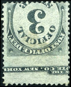 3c Post Office Official, Printed on Both Sides, Scott O49a