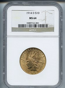 Indian Eagle, $10, 1914 - D, 8876, Obverse