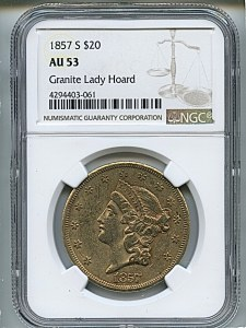 Liberty Double Eagle, $20, 1857 - S, 8922, Obverse