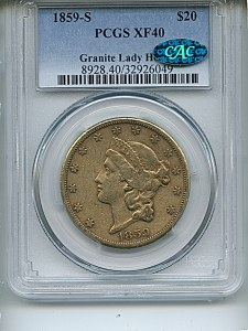 Liberty Double Eagle, $20, 1859 - S, 8928, Obverse