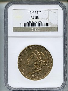 Liberty Double Eagle, $20, 1862 - S, 8938, Obverse