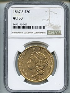 Liberty Double Eagle, $20, 1867 - S, 8952, Obverse