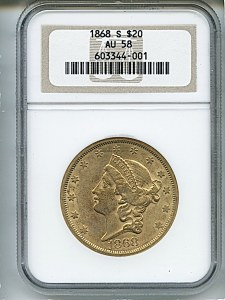 Liberty Double Eagle, $20, 1868 - S, 8954, Obverse