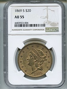 Liberty Double Eagle, $20, 1869 - S, 8956, Obverse