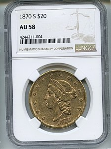 Liberty Double Eagle, $20, 1870 - S, 8959, Obverse