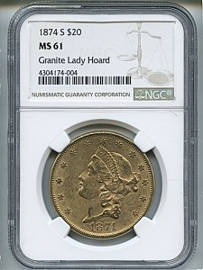 Liberty Double Eagle, $20, 1874 - S, 8972, Obverse