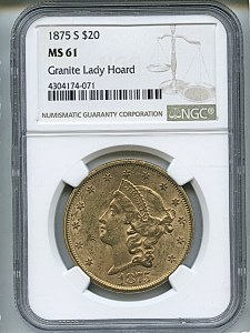 Liberty Double Eagle, $20, 1875 - S, 8975, Obverse