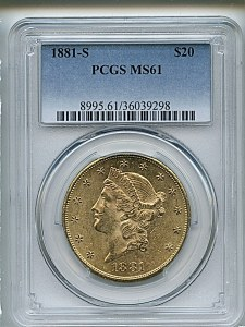 Liberty Double Eagle, $20, 1881 - S, 8995, Obverse