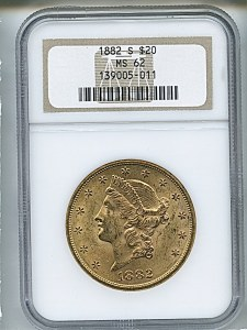 Liberty Double Eagle, $20, 1882 - S, 8998, Obverse