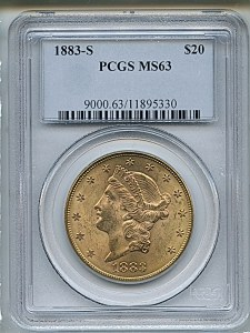 Liberty Double Eagle, $20, 1883 - S, 9000, Obverse