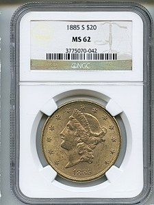 Liberty Double Eagle, $20, 1885 - S, 9005, Obverse