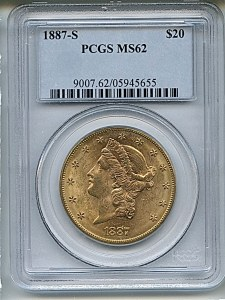 Liberty Double Eagle, $20, 1887 - S, 9007, Obverse