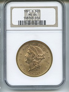 Liberty Double Eagle, $20, 1891 - S, 9018, Obverse