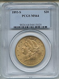 Liberty Double Eagle, $20, 1893 - S, 9024, Obverse