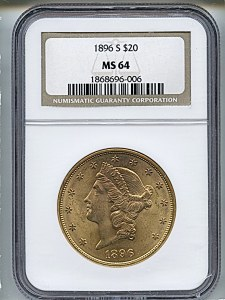 Liberty Double Eagle, $20, 1896 - S, 9030, Obverse