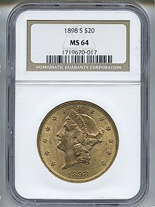 Liberty Double Eagle, $20, 1898 - S, 9034, Obverse