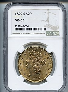 Liberty Double Eagle, $20, 1899 - S, 9036, Obverse